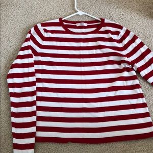 Red and White Striped Sweater Top
